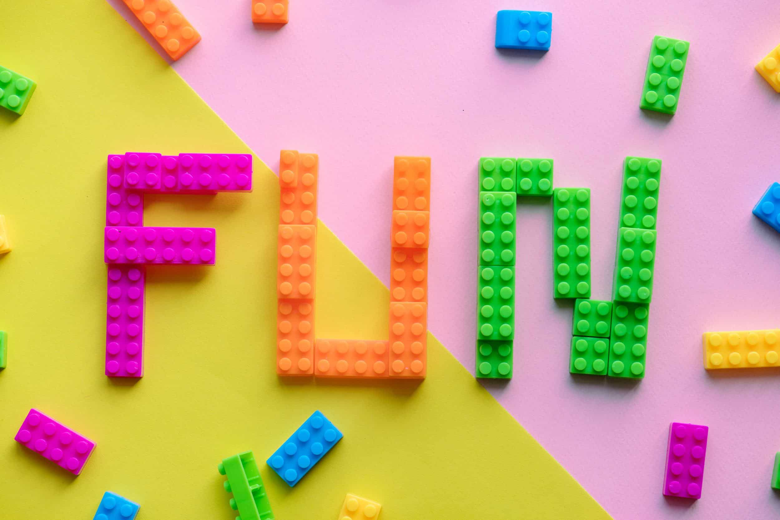 """FUN"" written with several colors of lego"